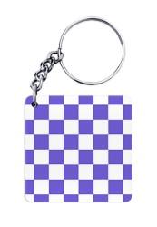 Blue Monochrome Checks Keychain