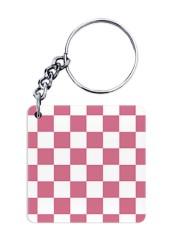 Pink Monochrome Checks Keychain