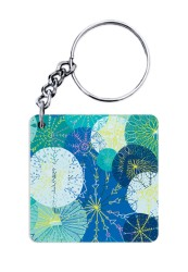 Abstract Yellow Blue Dots Keychain