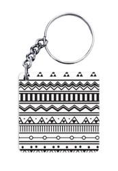Aztec Print Black & White Keychain