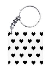 Black & White Hearts Keychain