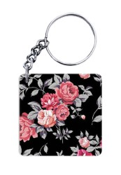 Black Floral Keychain