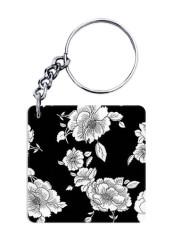 Black White Floral Keychain