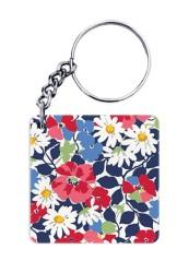 Blue Pink Floral Keychain