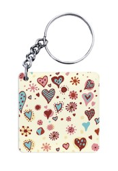 Brown & Blue Doodled Hearts Keychain