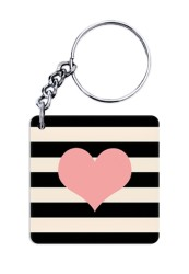 Stripes and Heart Keychain