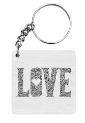 White LOVE Keychain