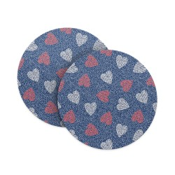 Hearts Jeans Pattern Coasters