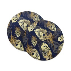 Golden Blue Feathers (Matte Finish) Coasters
