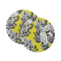 Greyscale Flower Pattern Coasters
