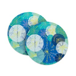 Abstract Yellow Blue Dots Coasters