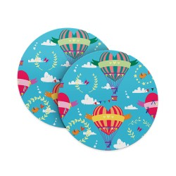 Colourful Hot Air Balloon Love Coasters