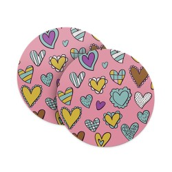 Cute Heart Doodle Coasters
