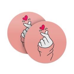Korean Heart Coasters