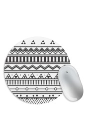 Aztec Print Black & White Mouse Pad