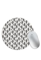 Feather Pattern Black & White Mouse Pad