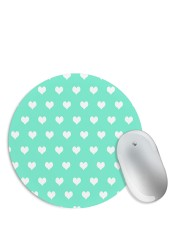 Green White Hearts Mouse Pad