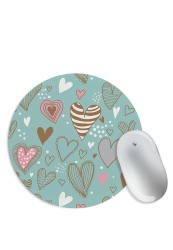 Hand Drawn Colourful Hearts Mouse Pad