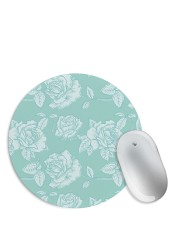 White Green Floral Pattern Mouse Pad