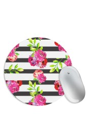 Black White Stripes With Floral Pattern Mouse Pad