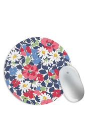 Blue Pink Floral Mouse Pad