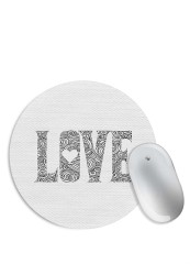 White LOVE Mouse Pad