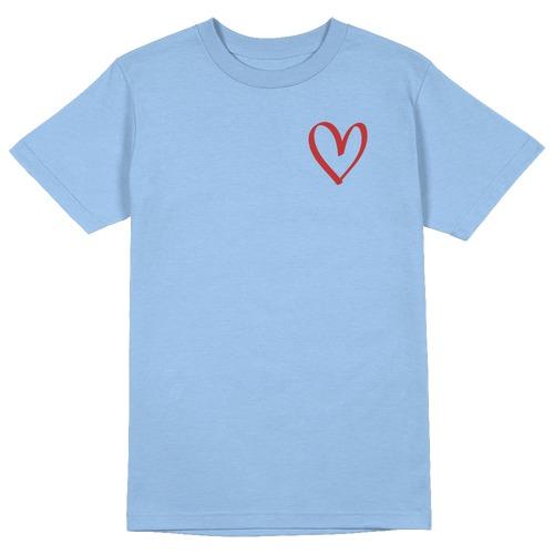 Heart Sketch Round Collar Cotton Tshirt