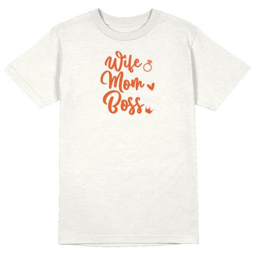 Wife. Mom. Boss Round Collar Cotton Tshirt