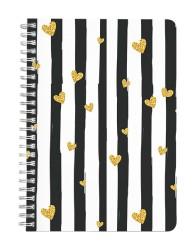 Golden Hearts & Stripes Notebook