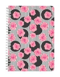 Polka Stripes & Rose Pattern Notebook