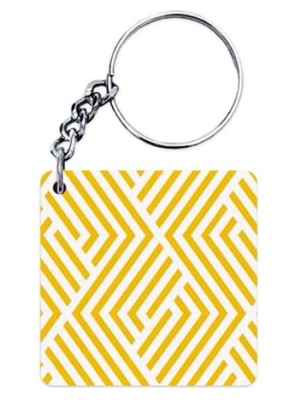 Yellow Geometric Pattern Keychain