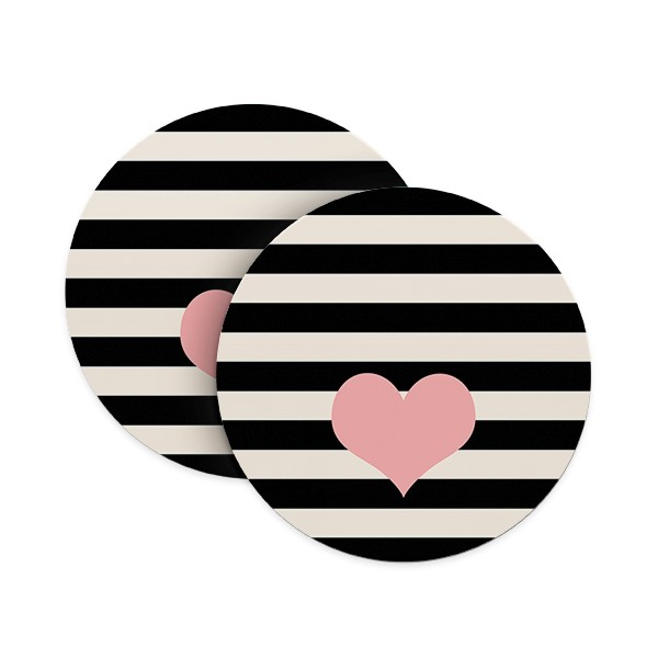 Stripes and Heart Coasters