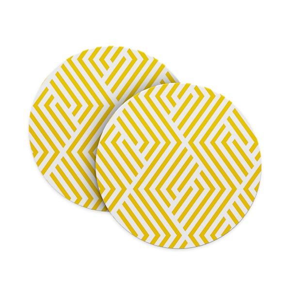 Yellow Geometric Pattern Coasters
