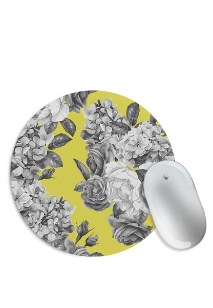 Greyscale Flower Pattern Mouse Pad