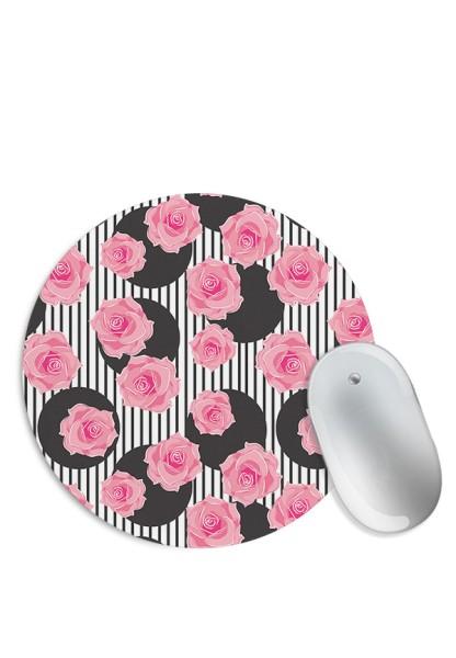 Polka Stripes & Rose Pattern Mouse Pad