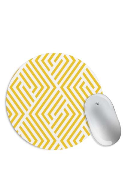 Yellow Geometric Pattern Mouse Pad